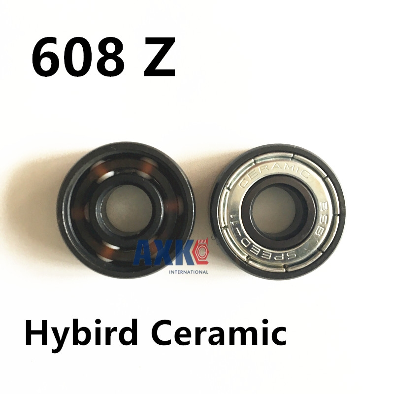 FREE SHIPPINGC 608 z Skate Bearing AXK Brand Speed-11 Hybrid Ceramic White ZrO2 Ball Skateboard Bearing Skating 608Z rodamientos ball bearing golden 8x22x7mm 608z ilq 11 608 inline skateboard speed skate bearing roller skating longboard abec11