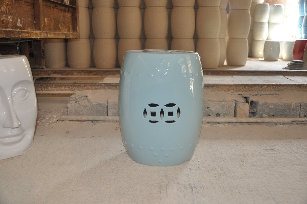 Chinese Plain Blue Glazed Ceramic Outdoor Garden Stool Garden Seats jingdezhen golden glazed ceramic porcelain garden face stool