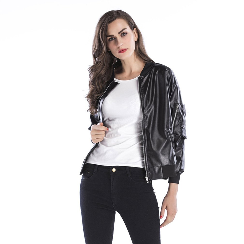 2018 Autumn Winter PU Leather Jacket Women Casual Classic Zipper Short Soft Lady Streetwear Coat Motorcycle Waterproof Coats 4