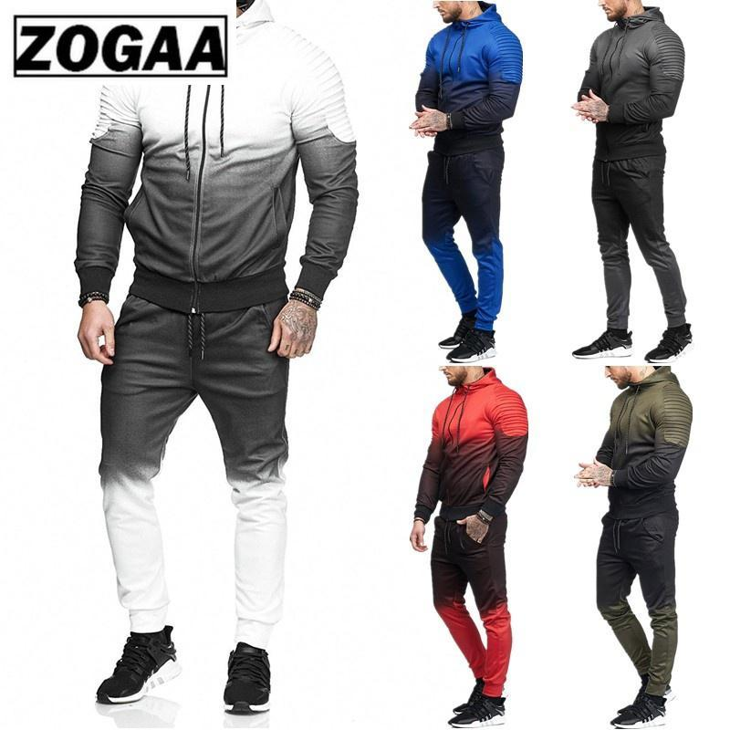 ZOGAA New Casual Mens Sets Tracksuit Outerwear Long Sleeve 2 Piece Set Tops And Pants Fitness Sweat Suits Men Fashion Clothing