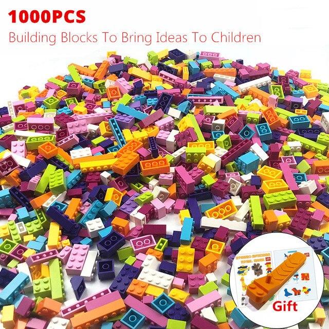 1000 peças coloridas tijolos, compatíveis, clássico, blocos de construção, tijolos, crianças, brinquedos criativos para crianças, presente de aniversário de meninas, brinquedos