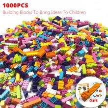 1000Pcs 다채로운 벽돌 호환 클래식 빌딩 블록 벽돌 아이들을위한 크리 에이 티브 블록 완구 소녀 생일 선물 완구