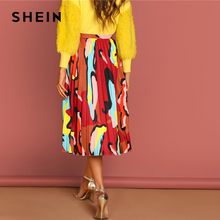 Multicolor Graphic Print Pleated Long Skirt
