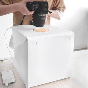 Image 4 - 40x40cm Led Licht Mini Foto Studio Tabletop Schießen Licht Box Softbox Zelt Leuchtkasten Weiche Box Zubehör Kulissen leuchtkasten