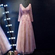 2017 Pink V-Neck A-Line Long Prom Dresses Elegant Full Sleeve Floor-Length Sexy Backless Evening Gown Vestido de Festa