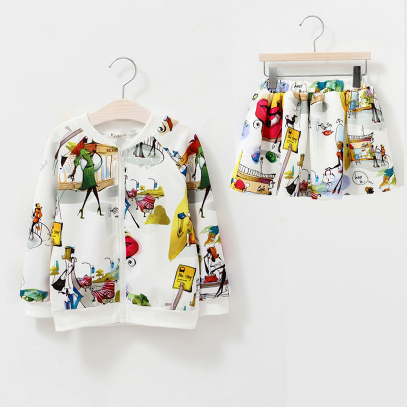 Print, Sets, Fashion, Skirt, Girls, Autumn