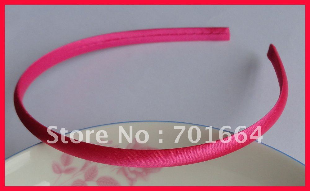 10 шт. 7 мм Фуксия Атласная Ткань завернутый простой пластик волос повязки для мужчин, ярко розовый покрыты Детские головные повязки