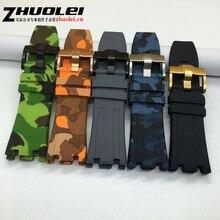 De luxe Bande 28mm camouflage et courte XS balck En Caoutchouc Silicone Étanche avec en acier inoxydable boucle ardillon Sangle pour AP bracelet