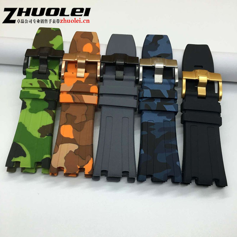 Luxury Band 28mm camouflage balck Rubber Silicone Waterproof with stainless steel pin buckle Strap for AP watchbandLuxury Band 28mm camouflage balck Rubber Silicone Waterproof with stainless steel pin buckle Strap for AP watchband