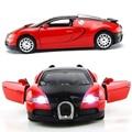 1:36 escala modelo de coche Bugatti Veyron de fundición modelo de coche con luz y sonido de coche vehículo regalo para los niños