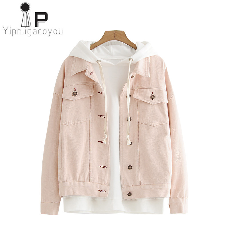 Autumn Coat Women Denim Jacket Korean Big size Female Overcoat Harajuku Jeans Jacket Women Pink Coat New Student Casual Clothes Куртка