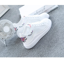 Women Casual Shoes Summer 2019 Spring Women Shoes Fashion Embroidered Breathable Hollow Lace-Up Women Sneakers ghn8