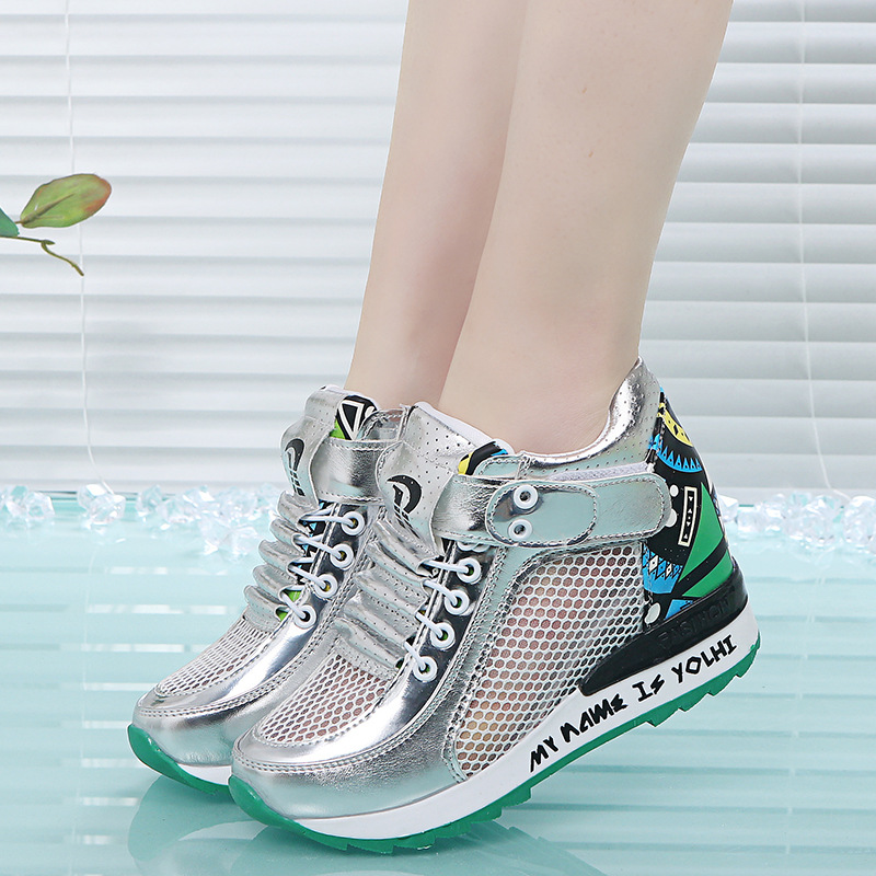 2019 spring and summer new women's shoes increased net shoes wild breathable mesh surface hollow leisure sports wedge 13