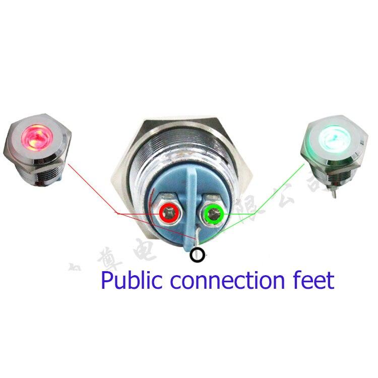 10 ШТ. 16 мм металл двойной индикатор В общей сложности анода или В общей сложности катода Красный, зеленый, двойной цвет 6 В 12 В 24V220V