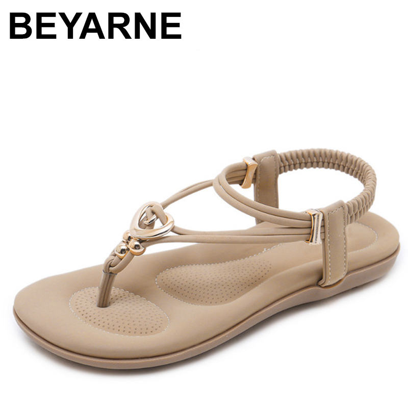 BEYARNE Summer Women Gladiator Flats Sandals Shoes Woman Casual Bohemia Crystal Bead Metal Flip flop Female Beach Sandals beyarne free shipping new fashion women sandals 2017 flower crystal summer sandals bohemia casual flat woman shoes