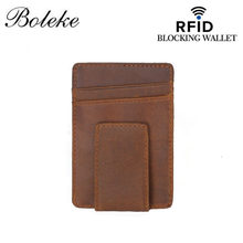 Vintage RFID Wallet Genuine Leather Credit Card Holder Slim Leather Wallet Men Women Solid Card Holder Pouch Small Bag FM111(China)