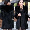 Hot 2016 Winter Women's Rabbit Fur Coat Fox Fur Collar Medium-long Hooded Fur Coat Plus Size S-XXXL-4XL Overcoat Free
