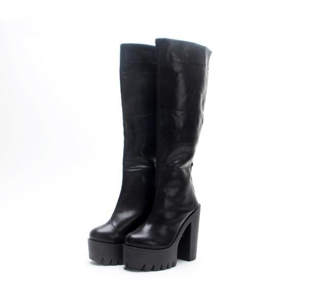 Solid Black Autumn/Spring Back Zipper Round Toe Flatform Rain Boot Casual Hoof Heel Ankle Ride Boots Women Free Ship Botas Mujer