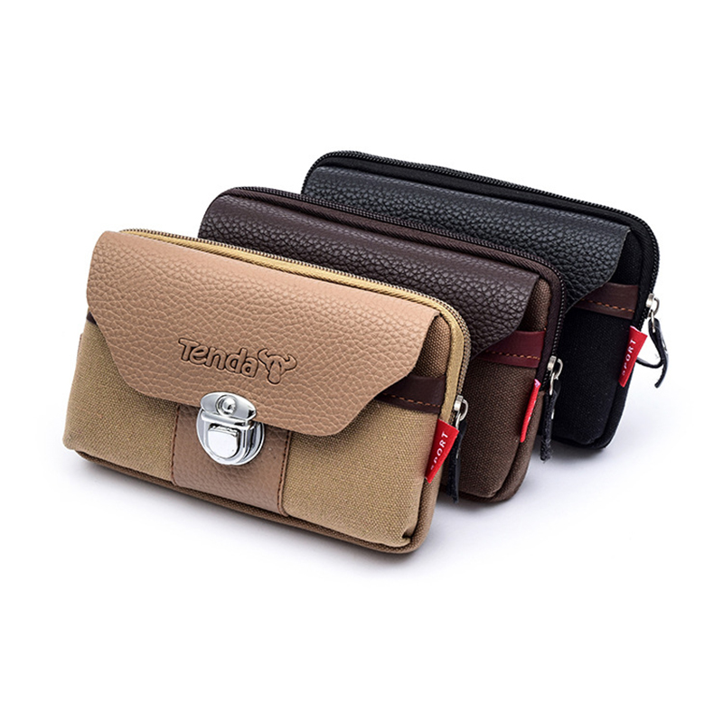 BISI GORO Fashion HASP Wear Belt Pocket Waist Bag Outdoor Porta Tarjetas Heuptas Heren Wear-resistant Canvas Phone Coin Purse