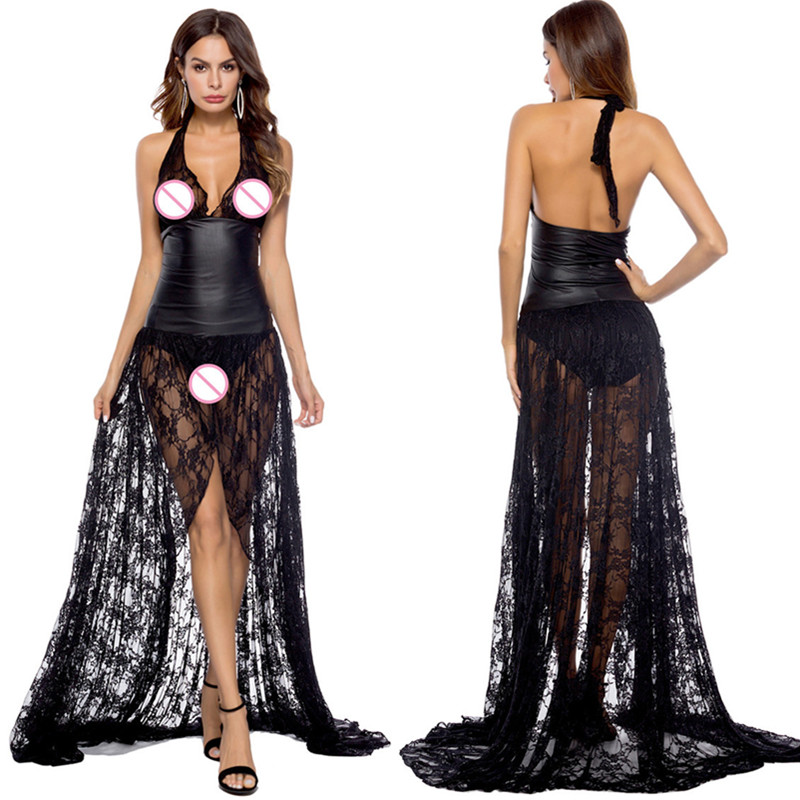 Porn Sex Babydoll Lingerie Sexy Hot Erotic Women Sexy Lingerie Latex Lace Backless Night Clubwear Pole Dance Dress Sexy Costume