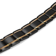 Black And Gold Stainless Bio Magnetic Men's Bracelet