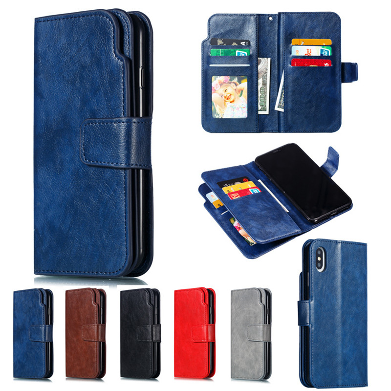 Leather wallet phone case for iphone X XS XR MAX 6 6S 7 8 plus phone panel bracket double deck Bank card slot PU TPU flip cover in Flip Cases from Cellphones Telecommunications