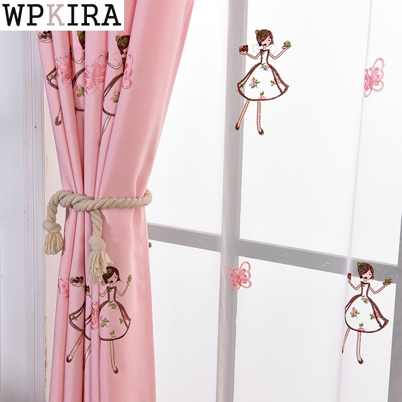 Pink Princess Cartoon Curtains For Living Room Children Embroidery Butterfly Blackout Curtains For Baby Girls Bedroom S262&30