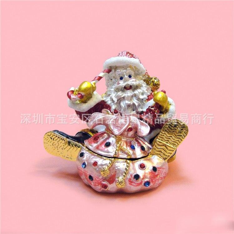 European Chinese Style Metal Enamel Painted Santa Claus Christmas Model Home Desktop Decor Decoration Ornaments A588