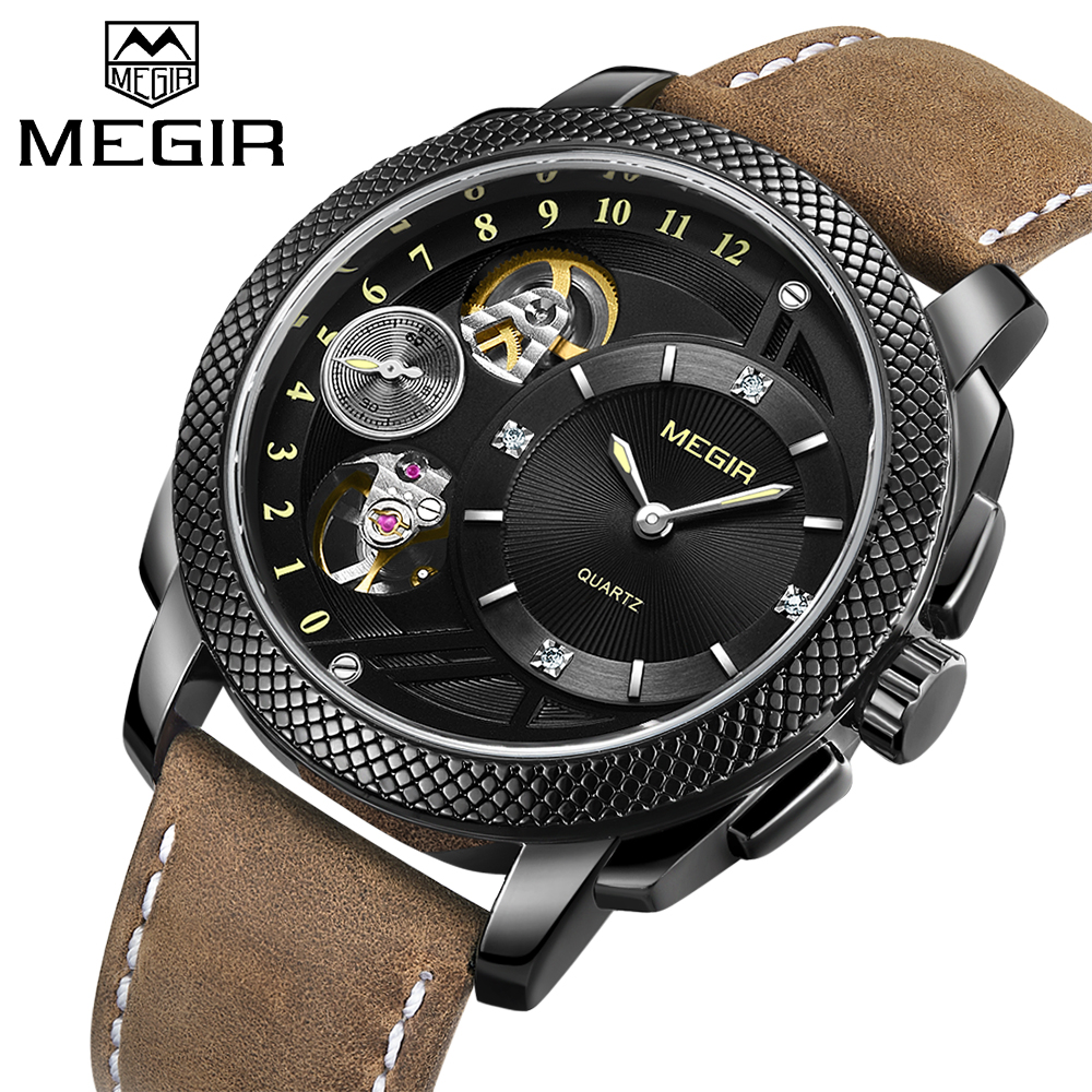 Top Luxury Brand MEGIR Men Fashion Sport Quartz Wristwatch Military waterproof Leather Strap Men casual clock Relogio Masculino 2017 luxury brand wishdiot fashion leather strap multifunction watches men quartz clock waterproof wristwatch relogio masculino