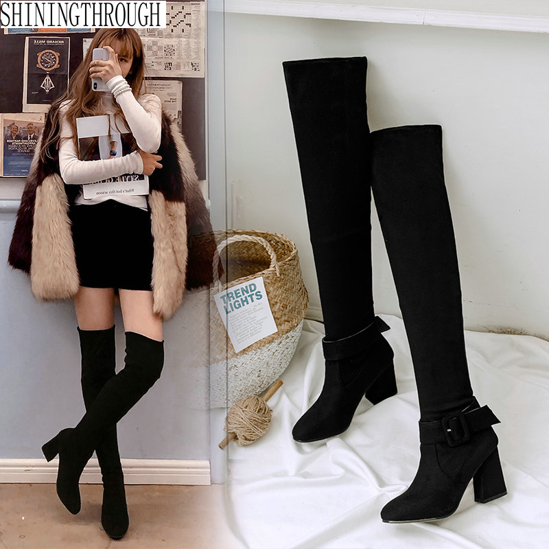 NEMAONE 2019 New high heels women over the knee high boots black ladies winter dress party shoes large size 41 42 43