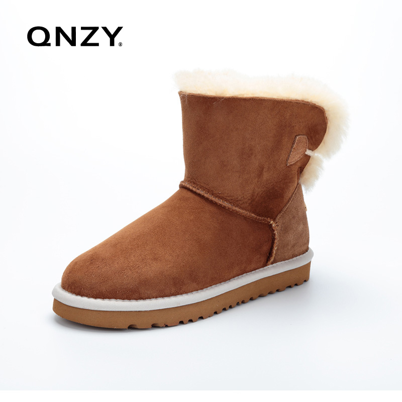 ФОТО QNZY Australia High quality natural sheep fur one snow boots / winter warm big yard female short boots / free shipping 35-44