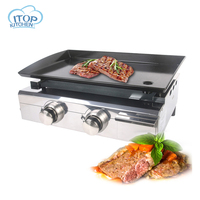 ITOP 2 Burners Gas BBQ Grill Plancha Barbecue Stove Summer Outdoor Iron Hot Plate Outdoor Party Oven