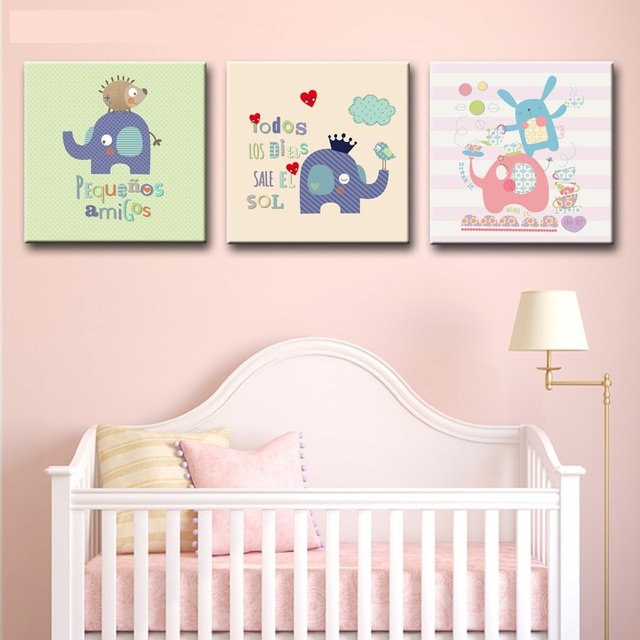 Nordic Canvas Painting Kawaii Elephant Wall Art Painting Canvas ...