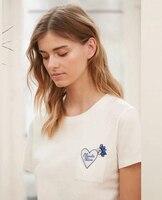 Women T shirt Love Embroidered Handmade Beaded T Shirt Cotton Short Sleeve
