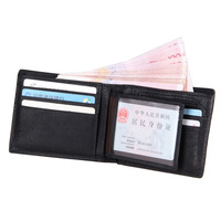 Genuine Leather Brown Yellow Cowhide Smart Folder Men Short Wallet With Card Photo Holder 8054A