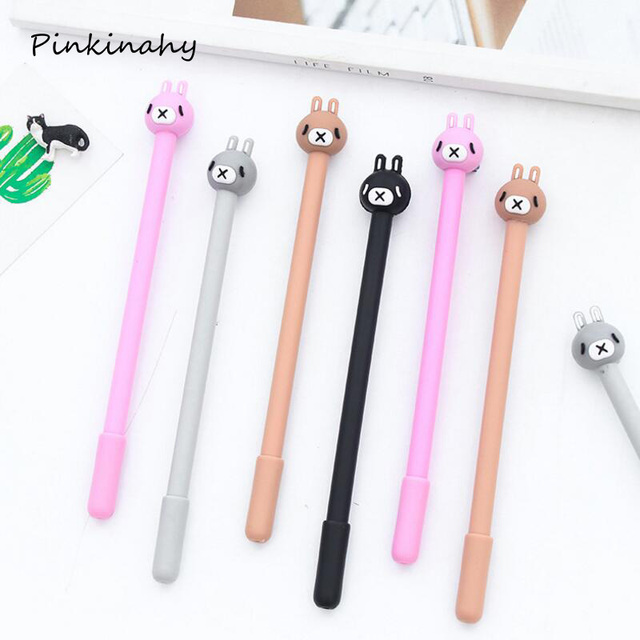 2Pcs/Set Pink Black Gray Rabbit Gel Pens Set School Supplies Office  Stationary Photo Gel
