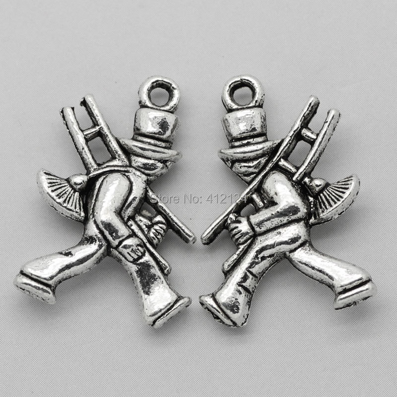 450Pcs Silver Tone Charm Pendants Chimney Sweeper DIY Jewelry Making Component 20x14mm