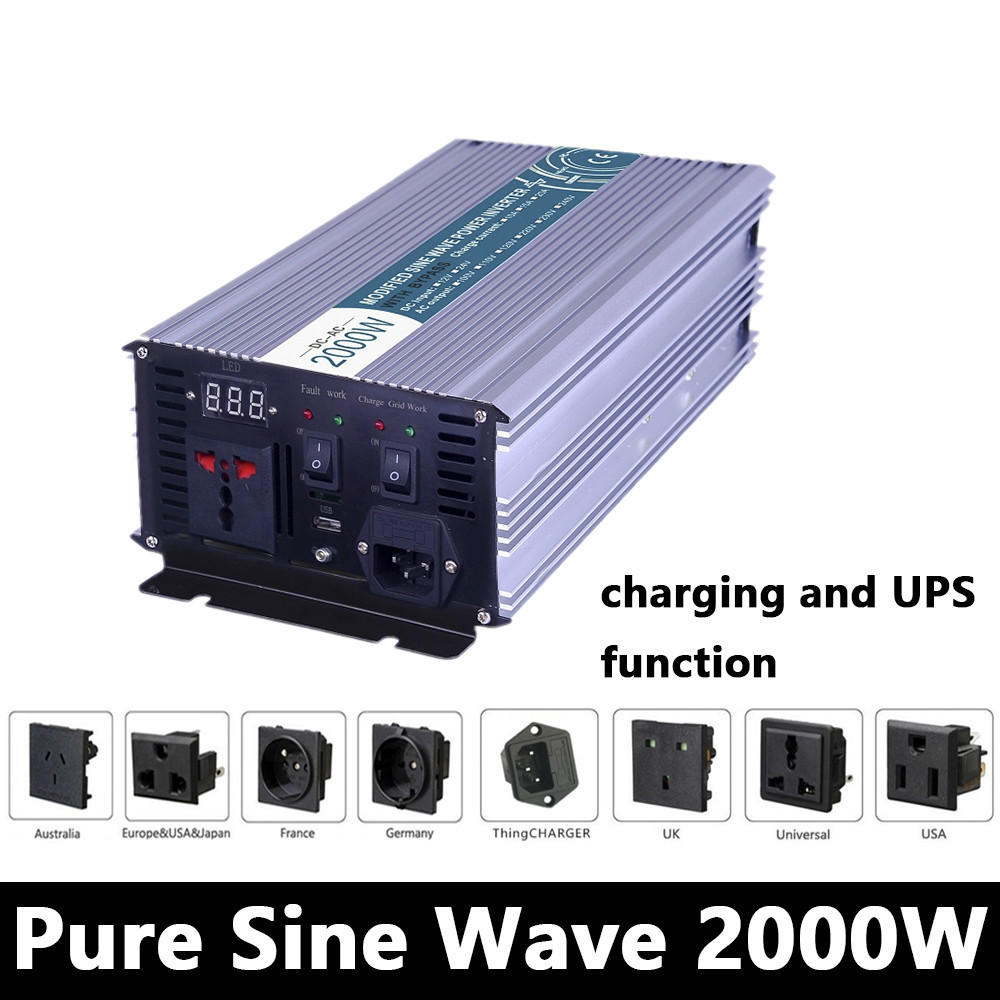Full Power 2000W Pure Sine Wave Inverter,DC 12V/24V/48V To AC110V/220V,off Grid Solar Inverter With Battery Charger And UPS ce and rohs dc 48v to ac 100v 110v 120v 220v 230v 240v off grid 6000 watt pure sine wave inverter