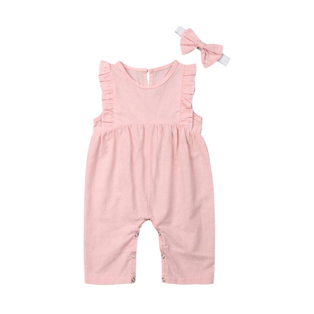 2019 New Newborn Baby Girl Solid Ruffles Romper Sleeveless O-Neck  Jumpsuit Headband Fashion  Outfits Sunsuit