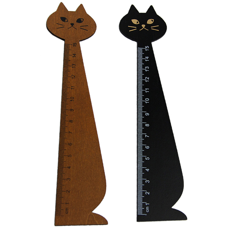 Affordable Wholesales 20 Pcs 15 Cm Wood Straight Ruler Cartoon Cat Form Ruler For Kids School (Black, Yellow)