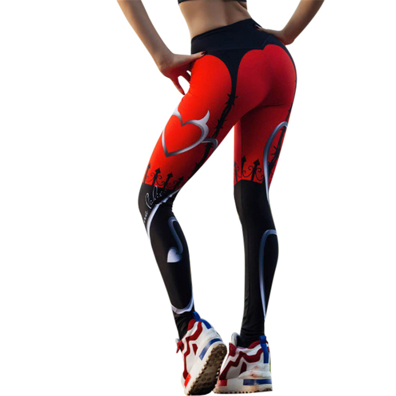 JLZLSHONGLE New Sexy Heart Print Leggings Mujer Rojo Negro Patchwork Pantalones deportivos moda estampado Leggings de Fitness para mujer