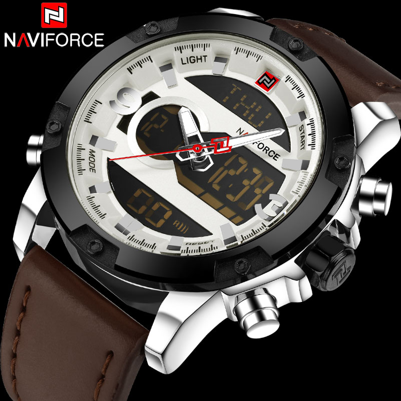 NAVIFORCE Brand Military Sport Watch Men 30M Waterproof Quartz Watches Leather Band LED Digital Analog Clock Relogio Masculino colorful wood grain print flannel bath rug