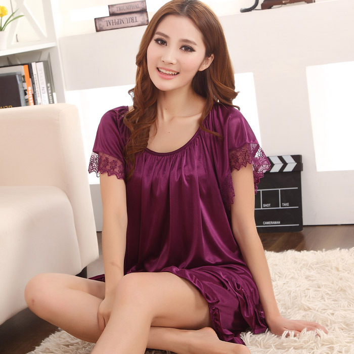 Womens sexy silk sleepwear