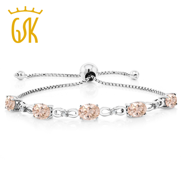 Gem Stone King Jewelry Bracelet Peach Morganite Diamond 925 Sterling Silver Adjule Tennis Party Wedding