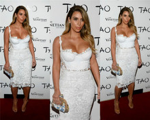 Zwei Stück Cocktailkleid 2016 Elegante Knielangen Cocktailkleider Plus Größe Weiß Spitze Frauen Pageant Kleider