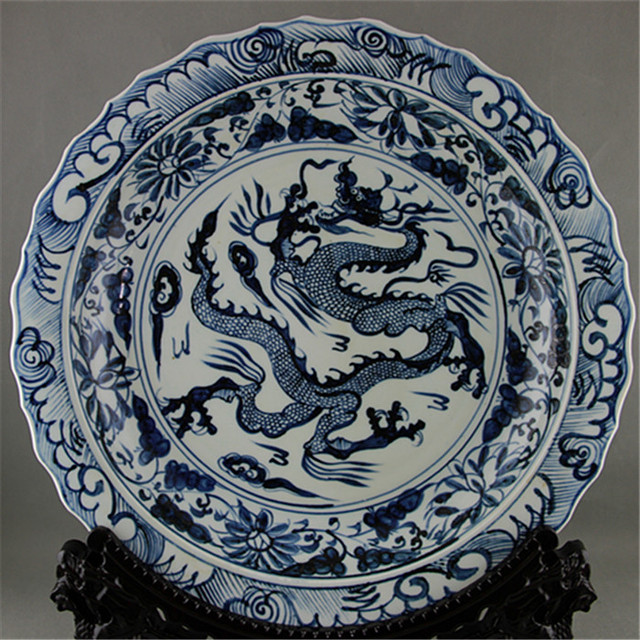 #5 Antique Old Chinese porcelain plateblue and white large Dragon & 5 Antique Old Chinese porcelain plateblue and white large Dragon ...