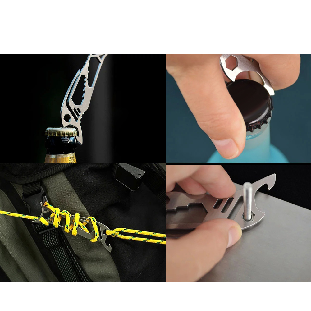 Portable Multifunctional Stainless Steel EDC pocket card tool Camping Equipment Card Tool Carabiners Climbing Accessories