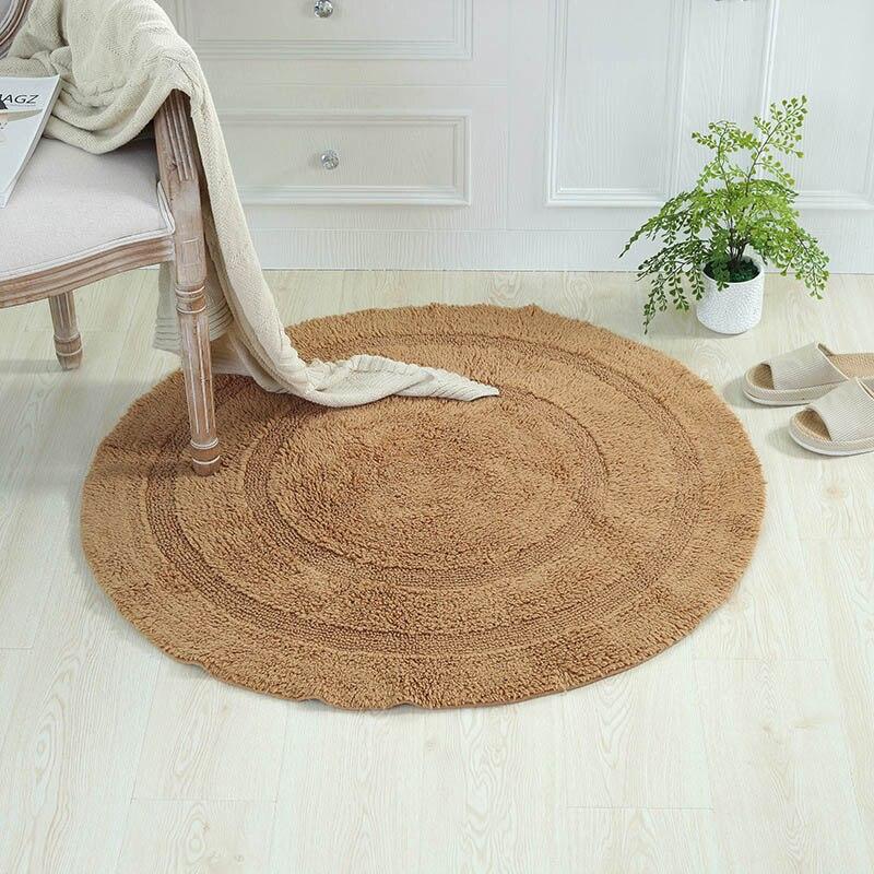 100% coton doux Simple tapis Absorption d'eau antidérapant support tapis rond solide paillasson pour chambre salon couloir tapis de bain