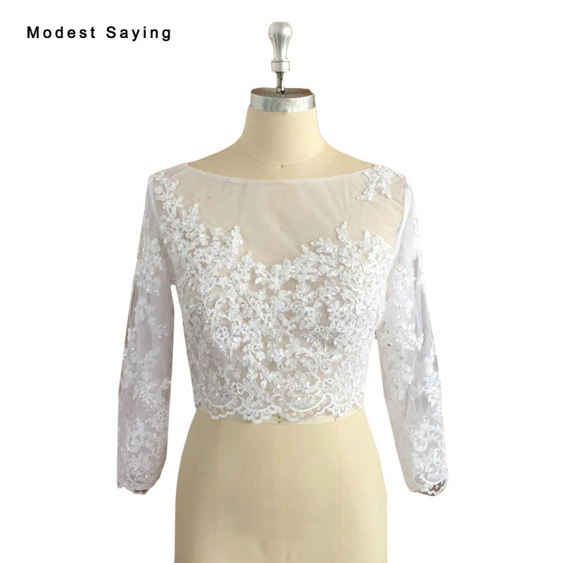 Real Photo Elegant Boat Neck Ivory Beaded Lace Bridal Boleros 2017 Long Sleeves Wedding Jackets Applique Cape Accessories BLB109