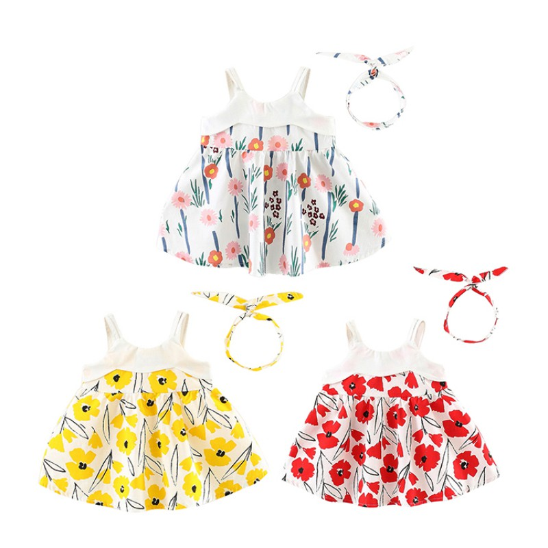 Hairbands + Dresses for Girls Cartoon Flowers Baby Girls Clothes Fashion Printed Dresses Newborn Beach Baby Girl Dresses